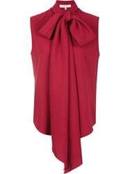 Carolina Herrera Long Tied Blouse Red
