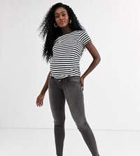 Mamalicious Skinny Jeans With Bump Band Grey