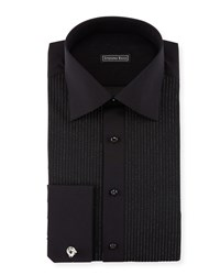 Stefano Ricci Metallic Pleated Tuxedo Shirt Black Women's