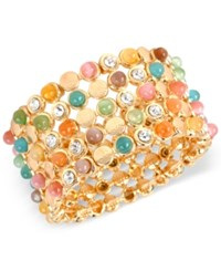Macy's M. Haskell Gold Tone Crystal Multi Colored Bead Stretch Bracelet
