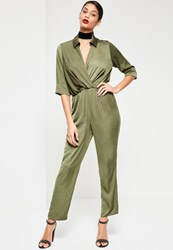 Missguided Khaki Satin Knot Front Shirt Jumpsuit