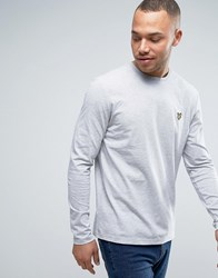 Lyle And Scott Long Sleeve Top Regular Fit Eagle Logo In Gray Marl Gray