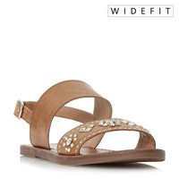 Dune Luma Wide Fit Stud Strap Flat Sandals Tan