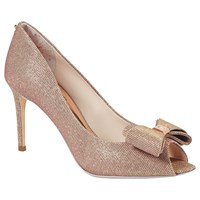 Ted Baker Tie The Knot Azeline Bow Peep Toe Court Shoes Rose Gold