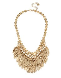 Betsey Johnson Feather And Crystal Bib Frontal Necklace Gold