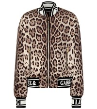 Dolce And Gabbana Leopard Printed Bomber Jacket Brown
