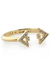 Astrid And Miyu Fitzgerald Triangle Gold Plated Crystal Ring Gold