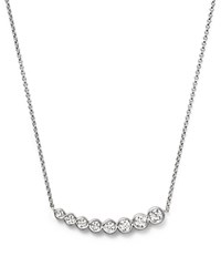 Kc Designs Diamond Graduating Bezel Pendant Necklace In 14K White Gold 16