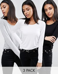 Asos T Shirt With Long Sleeve And Scoop Neck 3 Pack Black White Grey Multi