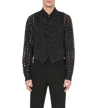 Ann Demeulemeester Silk Striped Cotton Blend Waistcoat Black White