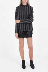 Alexander Wang Hooded Fringed Hem Pullover Black