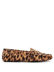 Tod's Gommino Leopard Print Calf Hair Loafers Leopard