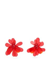 Simone Rocha Floral Crystal And Pvc Earrings Red