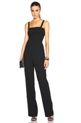 T By Alexander Wang Poly Crepe Cutout Bandeau Jumpsuit In Black