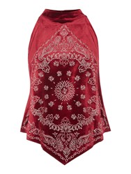 Free People Embroidered Bandana Bling Sleeveless Top Nepped Berry Red