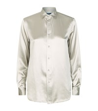 Polo Ralph Lauren Silk Charmeuse Shirt Female Silver