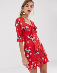 Parisian Tie Front Skater Dress In Red Floral
