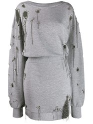 Faith Connexion Distressed Sweater Dress Grey