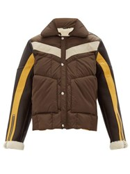 Schott Leather Sleeves Technical Quilted Shearling Jacket Brown Multi