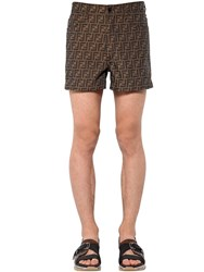 Fendi Allover Logo Printed Cotton Blend Shorts Brown
