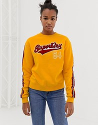 Superdry 54 Logo Sweatshirt With Sleeve Taping Yellow