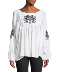 Chelsea And Theodore Embroidered Scoop Neck Blouse White Blue