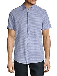 Report Collection Striped Short Sleeve Button Down Shirt Blue