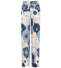 Chloe Printed Cotton Trousers Blue