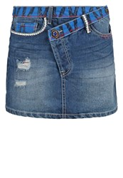 Desigual Ethnic Mini Skirt Denim Medium Dark Blue