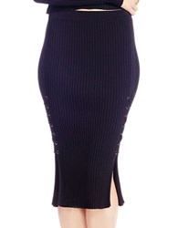 Jessica Simpson Fitted Lace Up Skirt Black