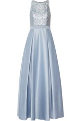 Badgley Mischka Pleated Embroidered Tulle And Satin Gown Light Blue