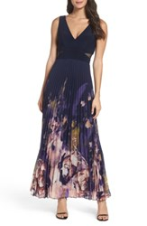 Xscape Evenings Petite Women's Floral Border A Line Chiffon Gown Navy Multi