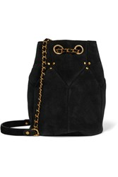 Jerome Dreyfuss Popeye Medium Suede Bucket Bag Black