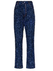 Ashish Tinsel Sequin Embellished Straight Leg Jeans Blue