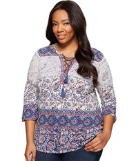 Lucky Brand Plus Size Lace Up Peasant Top Multi Women's Clothing