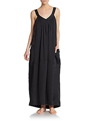 Donna Karan Sleepwear Laundered Satin Long Gown Black