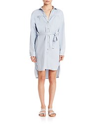Set Hi Lo Belted Denim Shirtdress Blue Denim