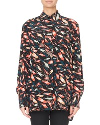 Givenchy Abstract Print Silk Button Front Blouse Multi Pattern