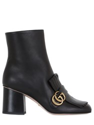 Gucci 75Mm Marmont Fringed Leather Boots Black