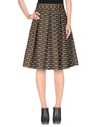 Stella Jean Knee Length Skirts Military Green