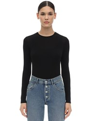 Max Mara L S Viscose Blend Jersey Top Black