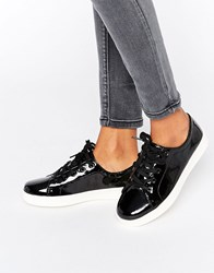 New Look Patent Trainers Black