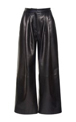 Zuhair Murad High Waisted Leather Culottes Pants Black