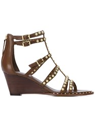 Ash Studded Gladiator Wedges Women Leather 37 Brown