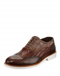 Jared Lang Mixed Leather Casual Oxford With Lightweight Rubber Sole Brown