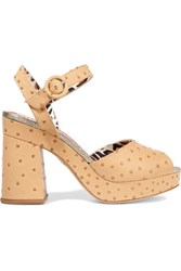 Charlotte Olympia Into The Wild Ostrich Effect Leather Platform Sandals