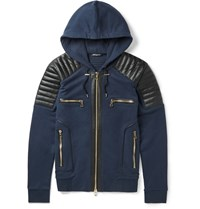 Balmain Slim Fit Leather Panelled Cotton Hoodie Blue