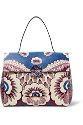 Valentino Floral Print Leather Tote Blue