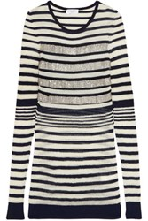 Sonia Rykiel Beaded Striped Wool Blend Sweater Navy