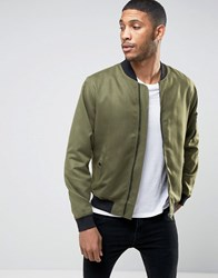 Only And Sons Bomber Jacket In Soft Touch Fabric Khaki Green